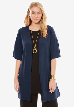 Travel Knit Collarless Topper, NAVY