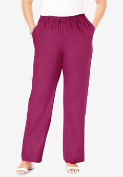 Lightweight Linen-Blend Straight-Leg Pants,
