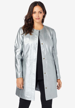 Three-Quarter Leather Jacket, SILVER