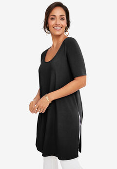 Mega Knit Tunic, BLACK