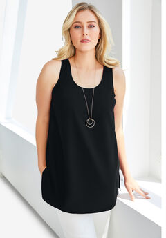 Georgette Tunic Tank, BLACK