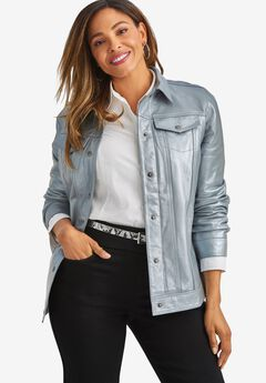 Denim Style Leather Jacket, SILVER