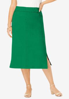 Comfort Waist Midi Skirt, KELLY GREEN
