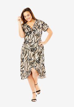 Linen-Blend Wrap Dress, OYSTER HIBISCUS