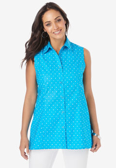 Poplin Button-Front Blouse,