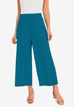 Travel Knit Wide-Leg Crop Pant,