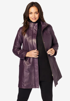 A-Line Zip Front Leather Jacket,