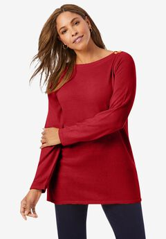 Boatneck Tunic Sweater, CLASSIC RED