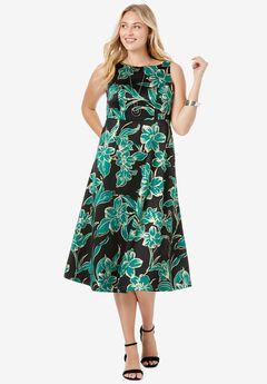 Satin Fit and Flare Dress, DARK EMERALD FLOWER
