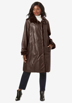 Fur-Trim Leather Swing Coat,