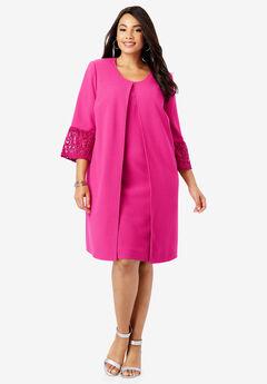 Lace Sleeve Jacket Dress, VIVID PINK