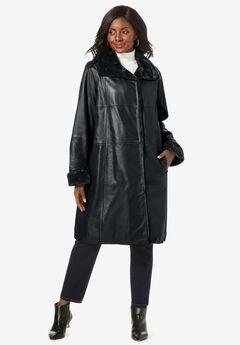 Fur-Trim Leather Swing Coat, BLACK
