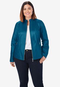 Zip Front Leather Jacket, OCEAN TEAL
