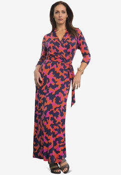 Faux Wrap Maxi Dress, CORAL ABSTRACT MOTIF