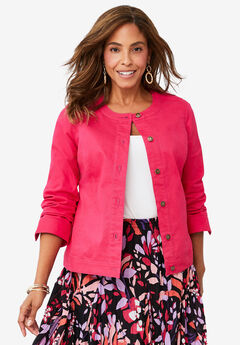 Collarless Denim Jacket, PINK BURST