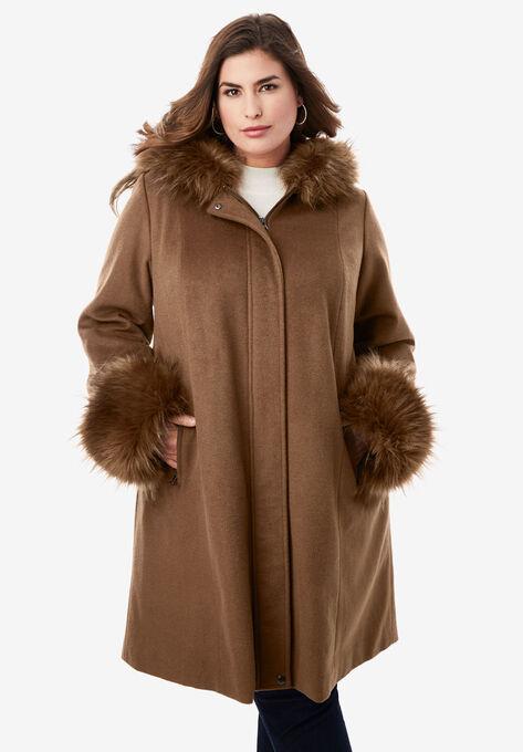 Hooded Faux Fur Trim Coat Catherines, Faux Fur Coat Hood Trim