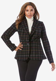 Wool-Blend Peplum Blazer, WARM SIMPLE PLAID
