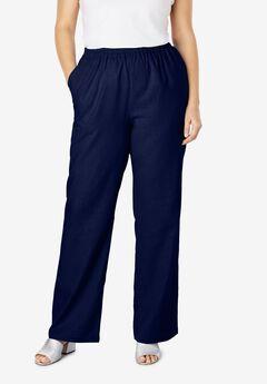 Lightweight Linen-Blend Straight-Leg Pants, NAVY