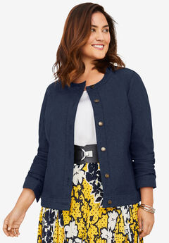 Collarless Denim Jacket, NAVY