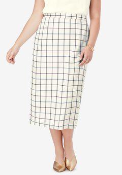 Wool-Blend Midi Skirt, TEAL PURPLE SIMPLE PLAID