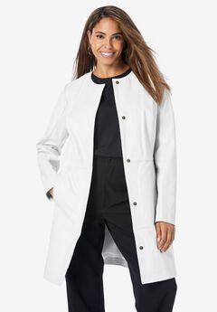 Three-Quarter Leather Jacket, WHITE