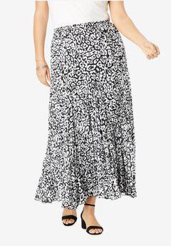 Flowing Crinkled Skirt, BLACK GRAPHIC ANIMAL