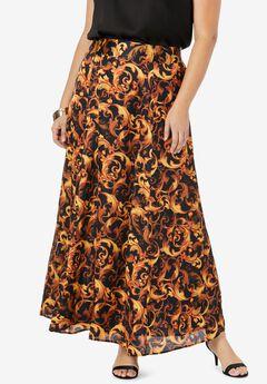 Flowy Maxi Skirt, RICH GOLD SWIRL
