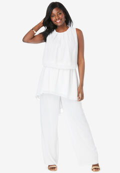 2-Piece Wide-Leg Pant Set, WHITE