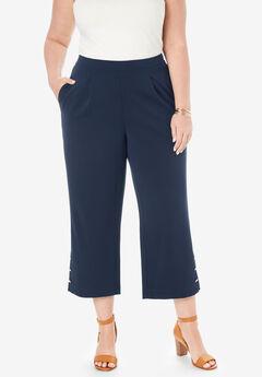 Knit Crepe Wide Crop Pants, NAVY