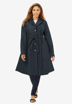 Pleated Trench Coat, BLACK