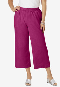 Wide Leg Linen Crop Pant, RASPBERRY