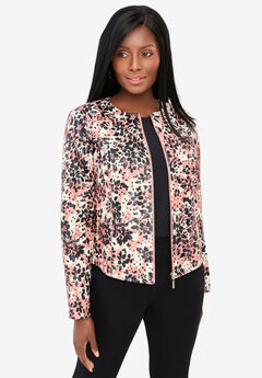 Collarless Leather Jacket, SALMON LAYERED FLORAL