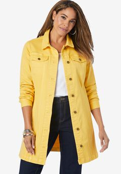 Long Denim Jacket, SUNSET YELLOW