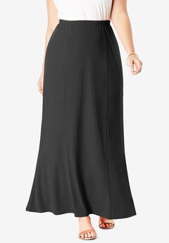 Travel Knit Maxi Skirt, BLACK