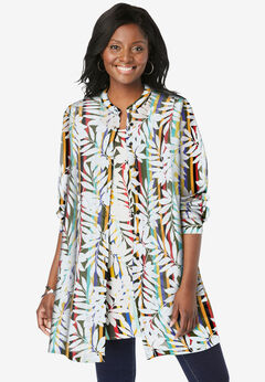 Georgette Button Front Tunic, MULTI STRIPED LEAVES