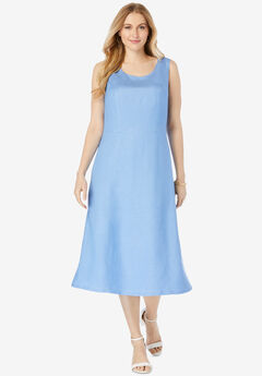 Linen Fit & Flare Dress, FRENCH BLUE