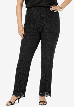 Lace Print Straight Leg Pants, BLACK