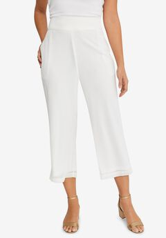Chiffon Wide-Crop Pants,