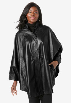 Leather Poncho, BLACK