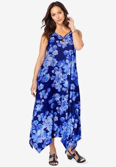 Keyhole Hanky Hem Maxi Dress,