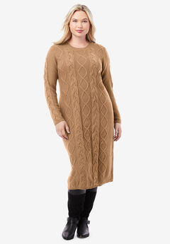 Cable Sweater Dress, BROWN MAPLE