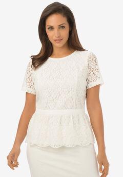 Woven Lace Blouse, WHITE