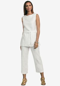 Linen Blend Capri Set, WHITE
