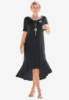 Everyday Knit Flounce Hem Maxi Dress, BLACK