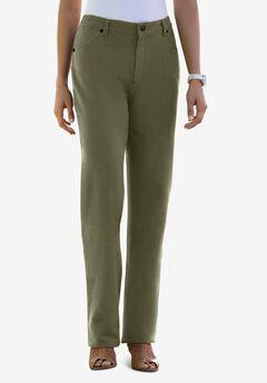 Classic Cotton Denim Straight Jeans, DARK OLIVE GREEN