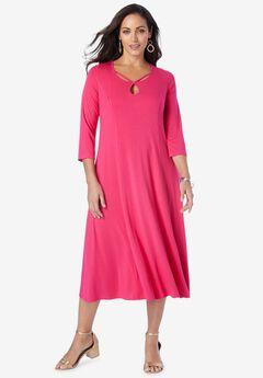 Twisted Keyhole A-line Dress,