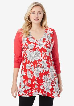 Georgette Overlay Tunic, CORAL RUBY BOTANICAL