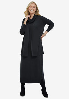 Two-Piece Sweater Dress, HEATHER CHARCOAL