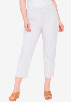 Stretch Poplin Straight-Leg Crop Pant, WHITE