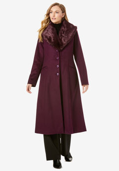 Long Wool-Blend Coat with Faux Fur Collar,